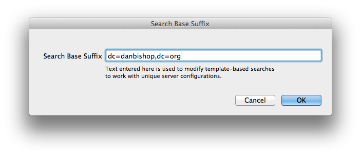 Supply search base suffix for LDAP on Mac OS X